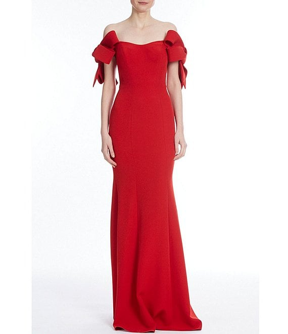 Color:Coral Rust - Image 1 - Off The Shoulder Crepe Gown