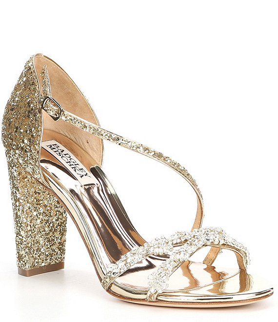 Color:Platinum Glitter - Image 1 - Omega II Glitter Jewel Embellished Block Heel Dress Sandals