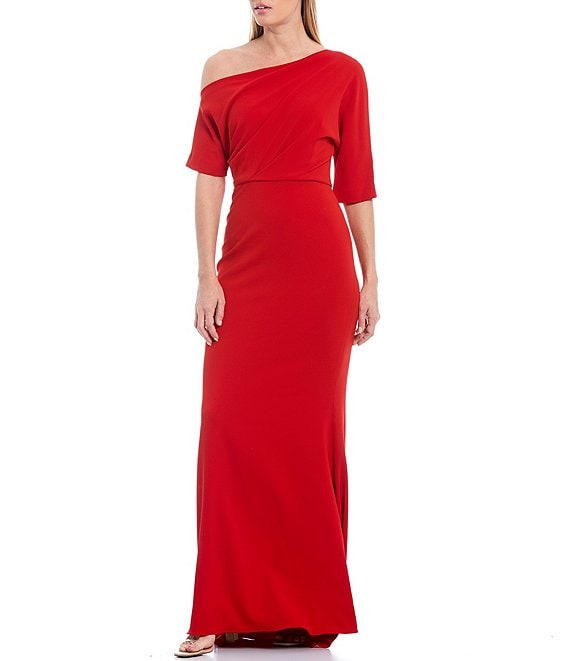 Color:Red - Image 1 - One Shoulder Odessa Crepe Gown
