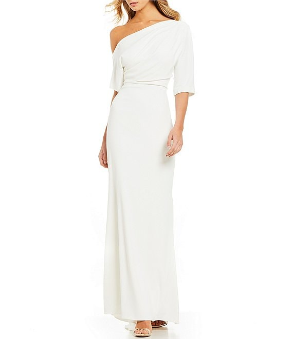 Color:Light Ivory - Image 1 - One Shoulder Odessa Crepe Gown