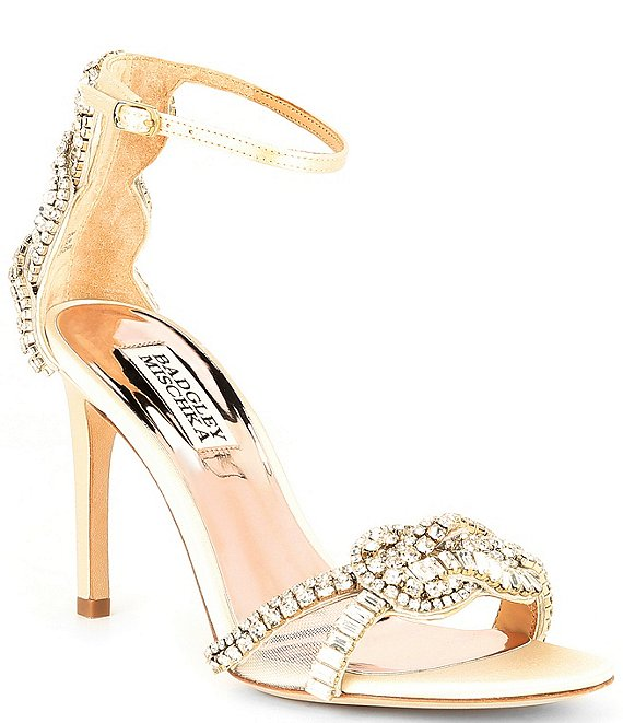 Color:Ivory Satin - Image 1 - Zadie Satin Jeweled Dress Sandals