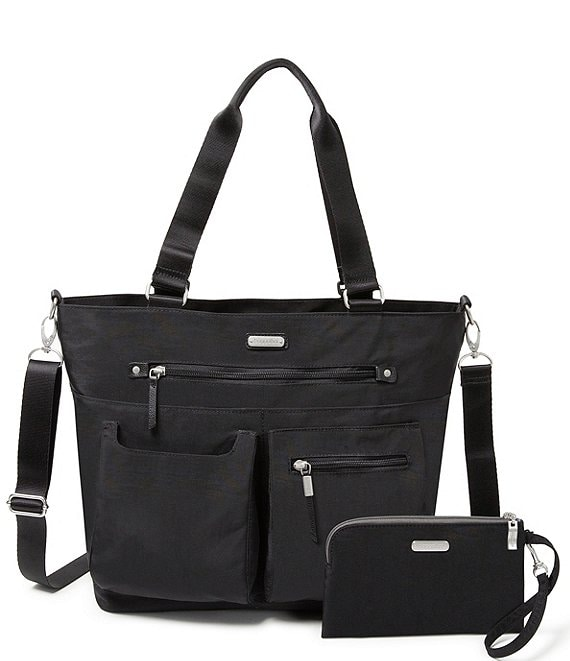 Color:Black - Image 1 - Any Day Tote Bag with RFID Wristlet