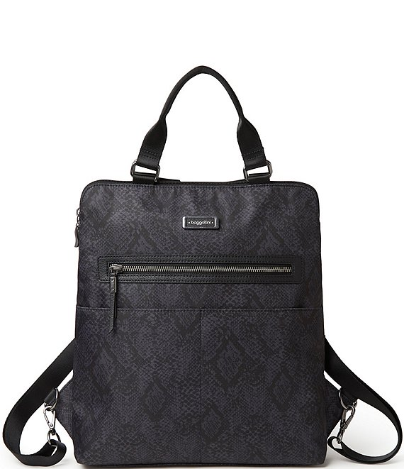 Color:Dark Grey Python - Image 1 - City Lights Collection Jessica Python Convertible Tote Backpack