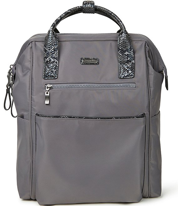 Color:Smoke/Faux Python - Image 1 - Soho Nylon Python Backpack