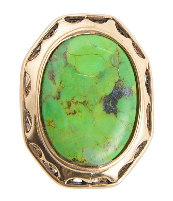 Barse Bronze and Lime Turquoise Statement Ring
