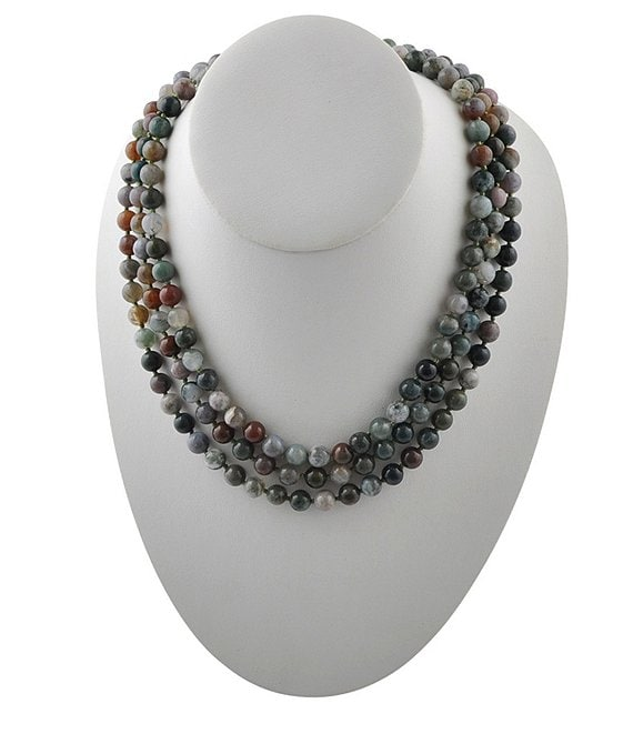 Color:Jasper - Image 1 - Long Genuine Stone Wrap Necklace