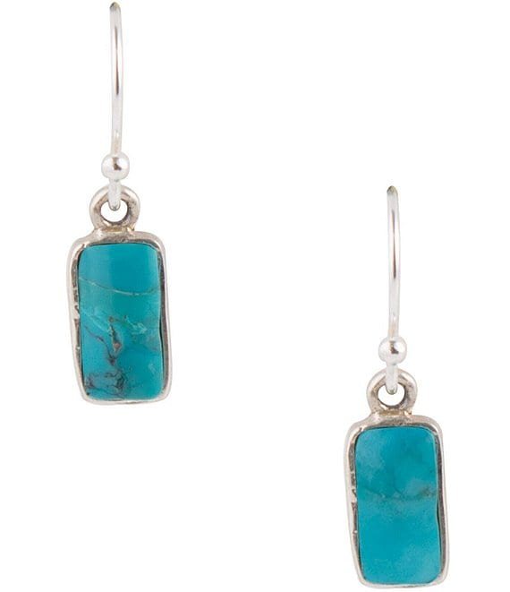 Color:Sterling Turquoise - Image 1 - Sterling Silver and Genuine Turquoise Dainty Drop Earrings