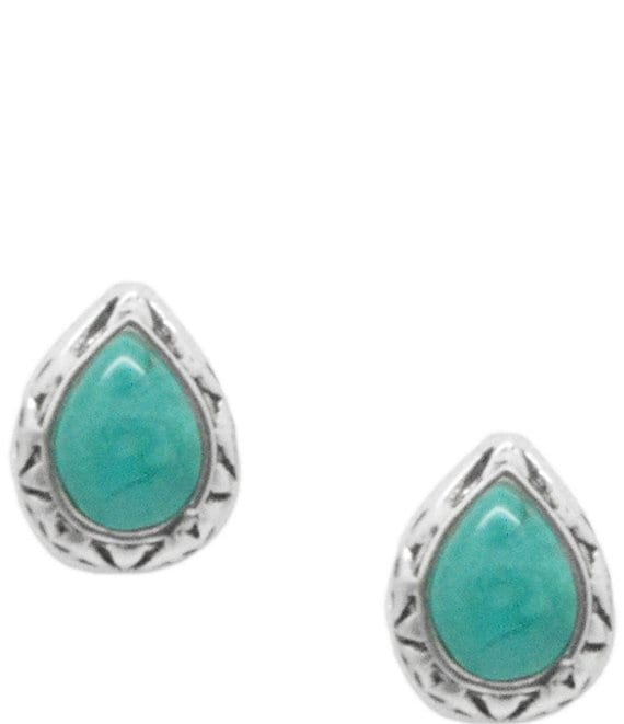 Color:Sterling Turquoise - Image 1 - Sterling Silver and Genuine Turquoise Teardrop Stud Earrings