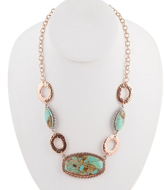 Barse Sterling Silver, Copper, and Genuine Turquoise Statement Necklace