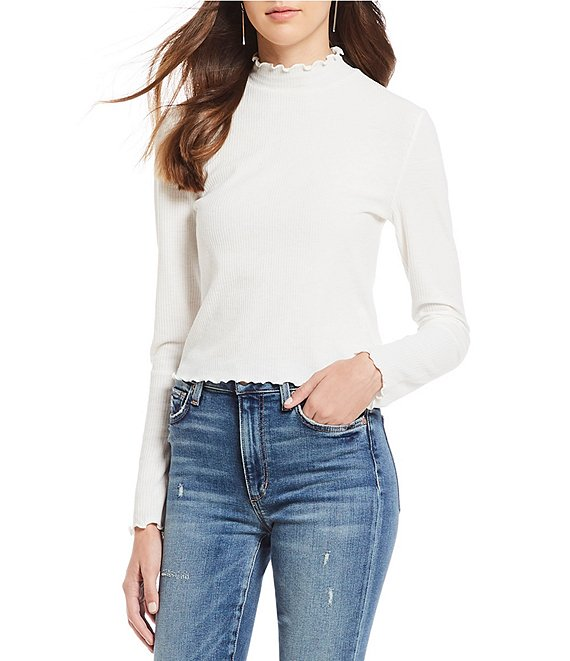 BB Dakota Best Intentions Lettuce Hem Mock Neck Knit Top