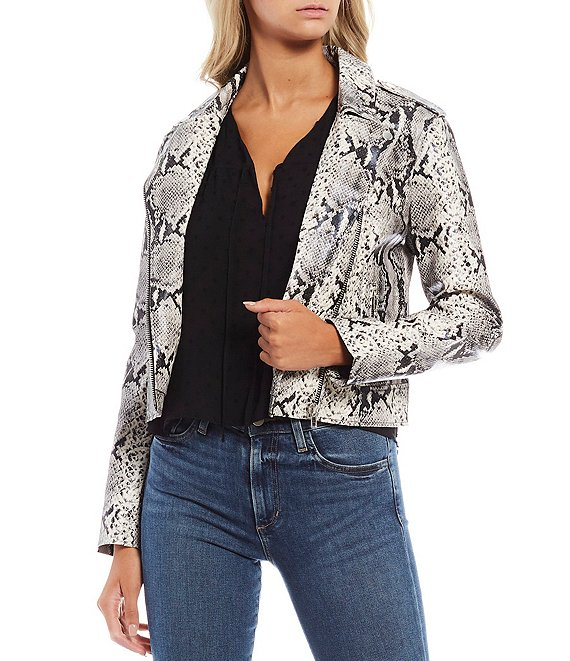 Color:Taupe - Image 1 - Watch Out Faux Leather Snake Print Moto Jacket