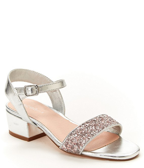BCBG Girls' Hilary Glitter Block Heel Sandal