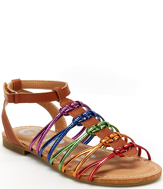 Color:Tan Multi - Image 1 - Girls' Cali Rainbow Strappy Sandals (Toddler)