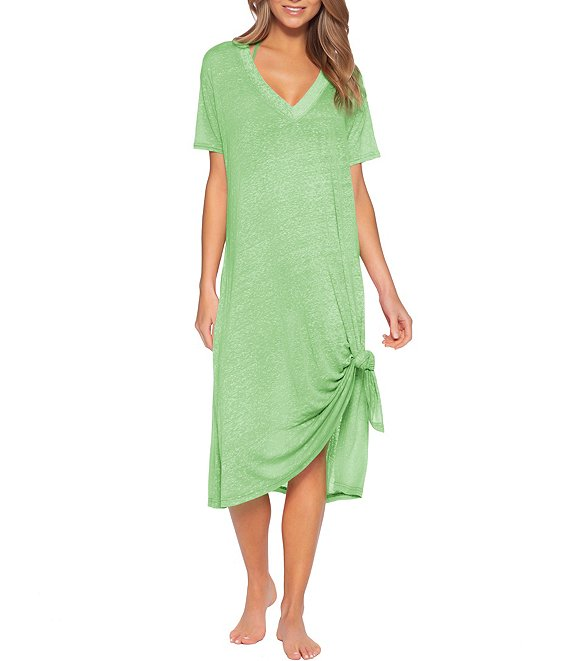 Color:Mint - Image 1 - Beach Date Oversized Swim Cover Up T-Shirt Dress