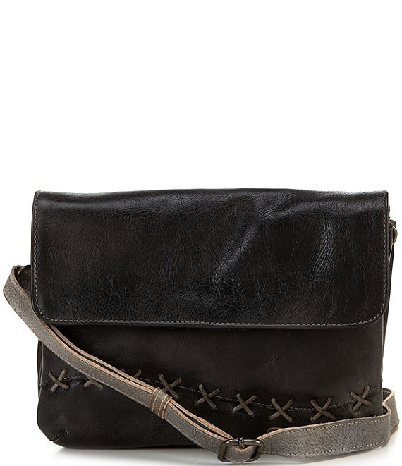 Color:Black/Icicle Rustic - Image 1 - Cleo Tanned Leather Stitch Crossbody Bag
