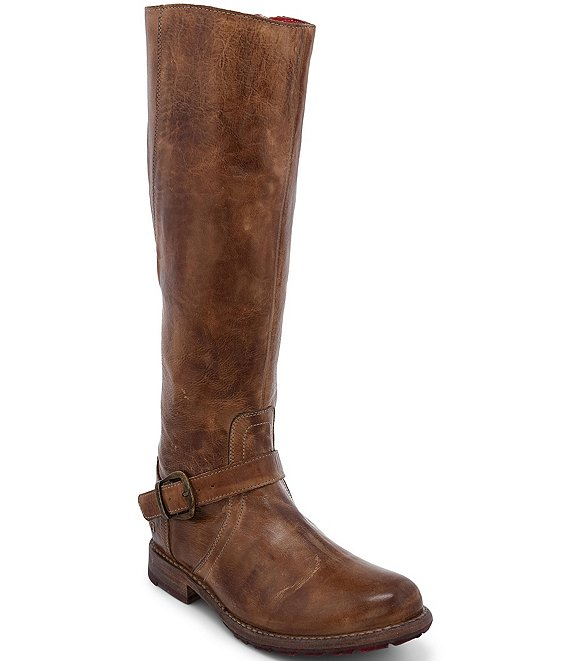 Color:Tan Rustic - Image 1 - Glaye Buckle Detail Tall Leather Block Heel Riding Boots