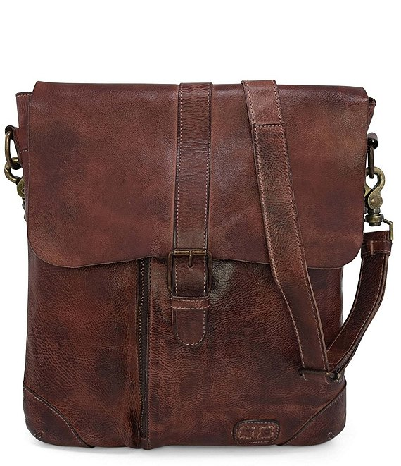 Color:Teak Rustic - Image 1 - Jack Distressed Leather Crossbody Bag