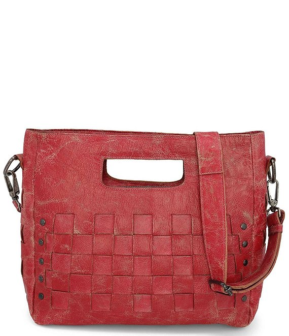 Color:Red Lux - Image 1 - Orchid Studded Woven Satchel Bag