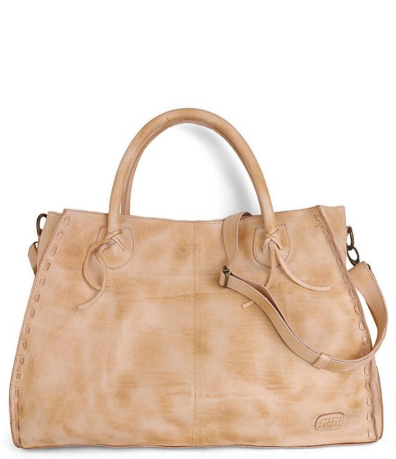 Color:Sand Rustic - Image 1 - Rockaway Stitch-Detail Distressed Satchel Bag