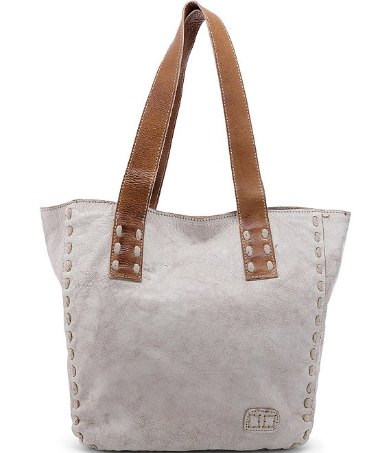 Color:Nectar Lux Tan Rustic - Image 1 - Stevie Leather Pick Stitch Tote Bag