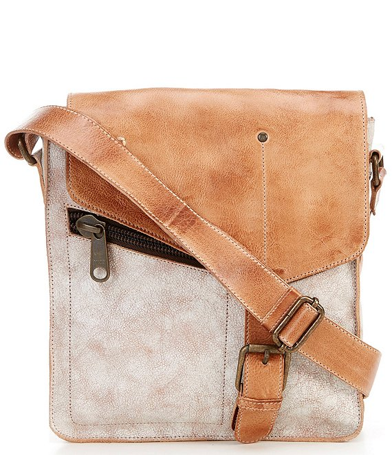 Color:Nectar Lux Tan Rustic - Image 1 - Venice Beach Buckle Weathered Leather Crossbody Bag