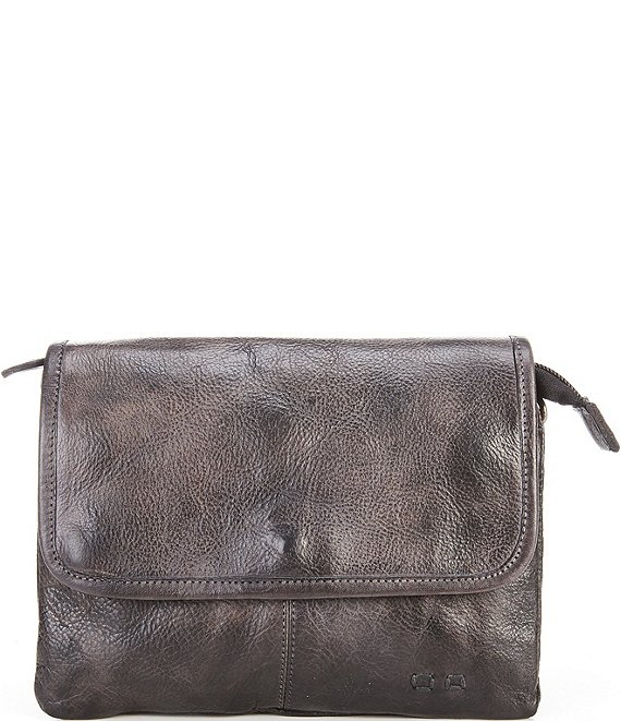 Color:Black Dip Dye - Image 1 - Ziggy Flap Closure Tanned Leather Crossbody Bag