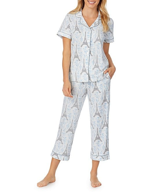 Color:Blue Eiffel - Image 1 - Colette's Eiffel-Printed Knit Cropped Pajama Set