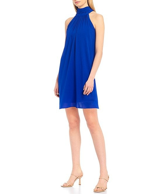 Color:Cobalt - Image 1 - Elise Halter Neck Trapeze Dress