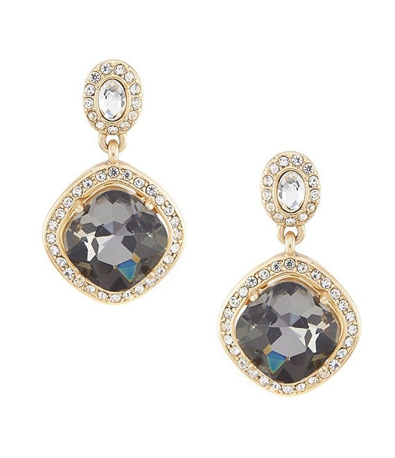 Color:Black - Image 1 - Faceted Stone Squared Drop Earrings