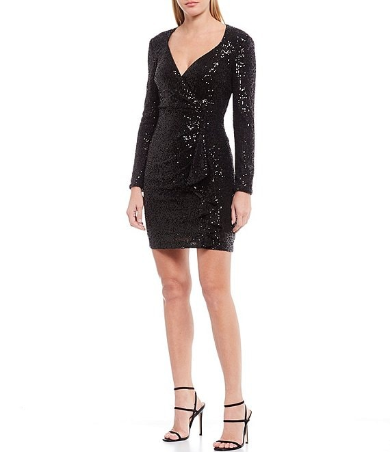 Color:Black - Image 1 - Lizabeth Allover Sequin Wrap Sheath Dress