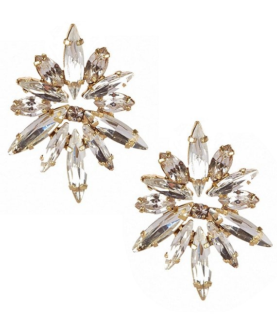 Color:Gold/Crystal - Image 1 - Midnight Starburst Statement Earrings