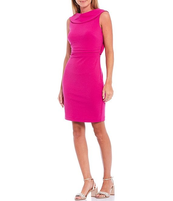Color:Fuchsia - Image 1 - Olivia Drape Back Cowl Neck Sleeveless Dress