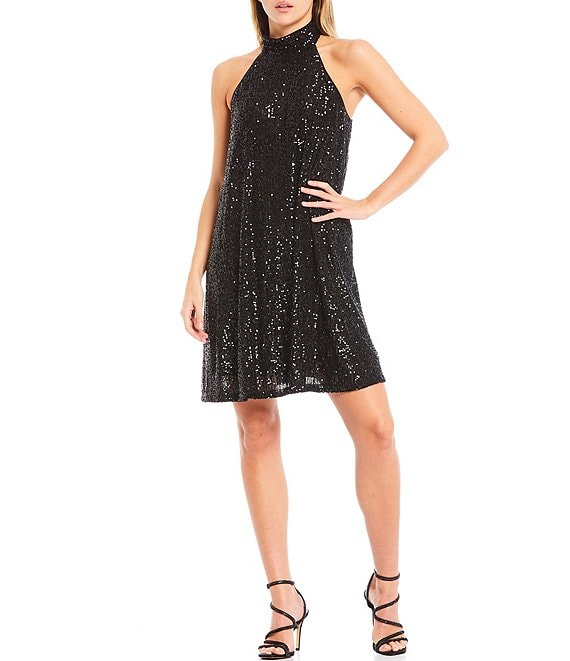 Color:Black - Image 1 - Tara Halter Neck Sequin Shift Dress