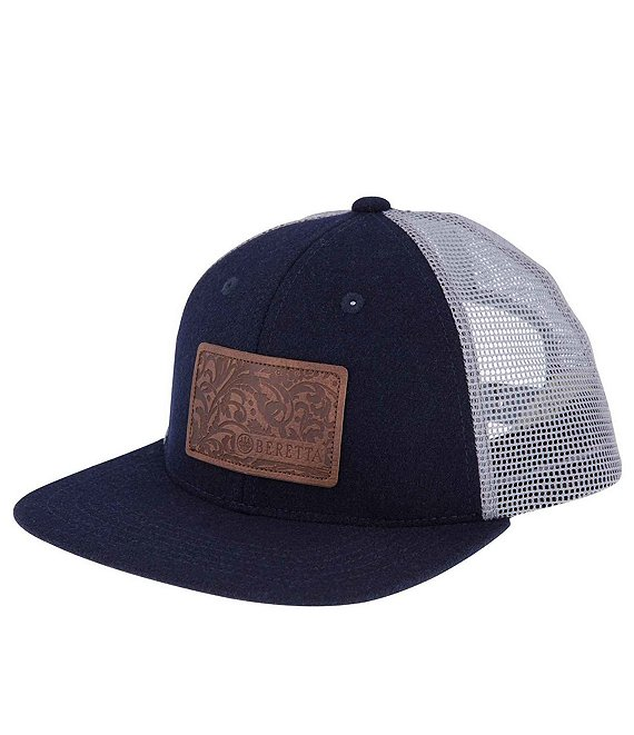 Color:Blue Total Eclipse - Image 1 - Engraved Patch Flat Bill Trucker Hat