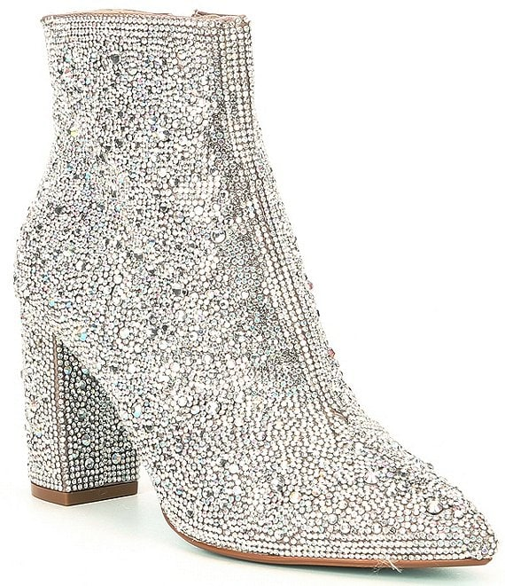 Color:Rhinestone - Image 1 - Blue by Betsey Johnson Cady Rhinestone Embellished Block Heel Booties