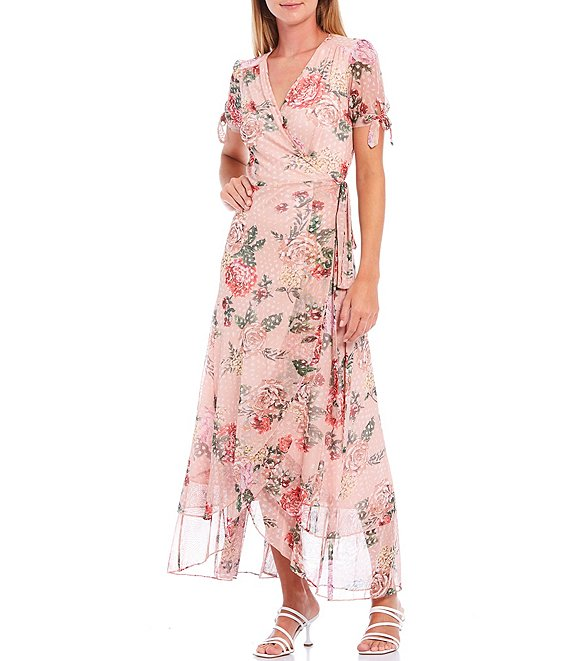 Color:Pale Rose - Image 1 - Floral Mesh Short Sleeve Maxi Wrap Dress