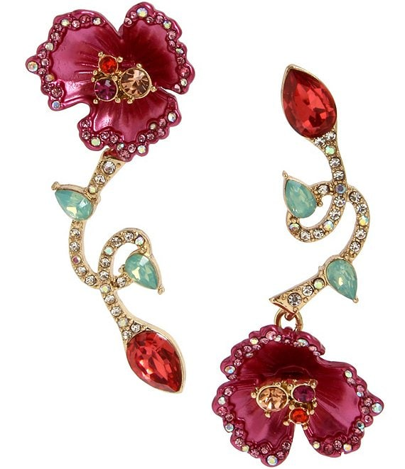 Betsey Johnson Floral Mismatch Statement Earrings