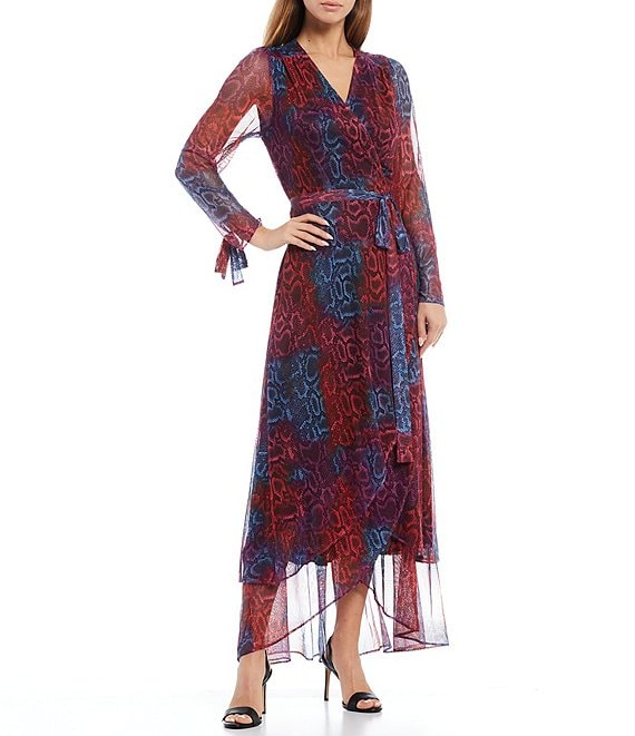 Color:Rainbow Python - Image 1 - Long Sheer Sleeve Ruffle Cuff Snake Print Power Mesh Tulip Wrap Maxi Dress