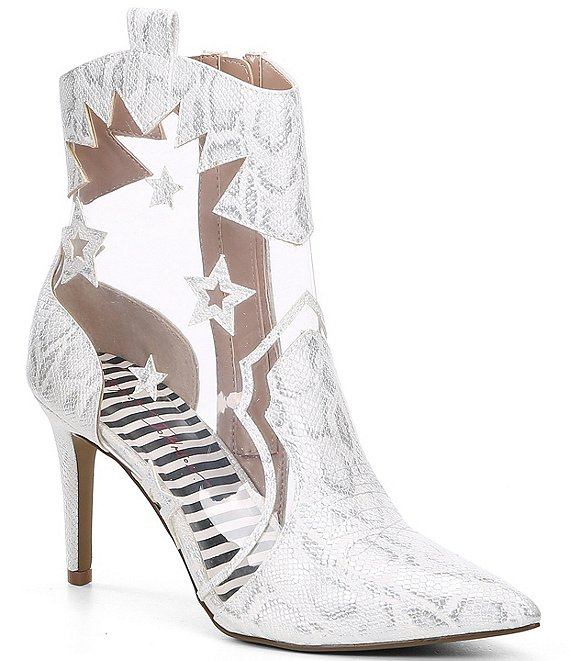 Color:White Snake - Image 1 - Lunas Snake Print Clear Western Booties