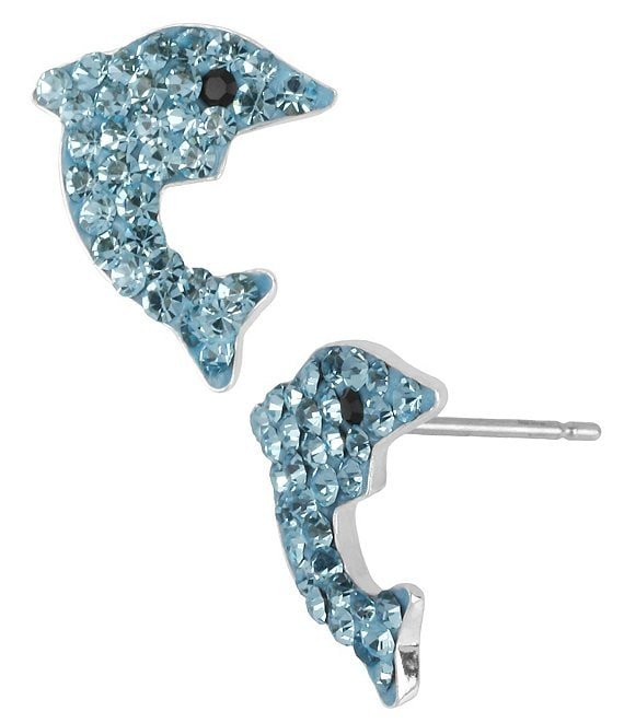Betsey Johnson Pavé Dolphin Stud Earrings