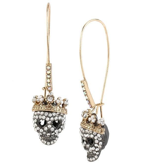 Betsey Johnson Pavé Skull Long Drop Earrings