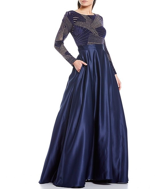Color:Navy/Rose - Image 1 - Beaded Bodice Long Sleeve Ball Gown