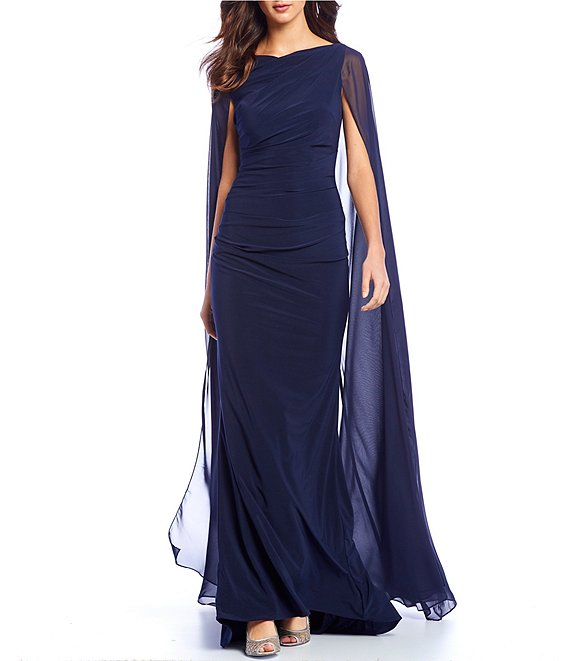 Betsy & Adam Boat Neck Chiffon Stretch Cape Gown