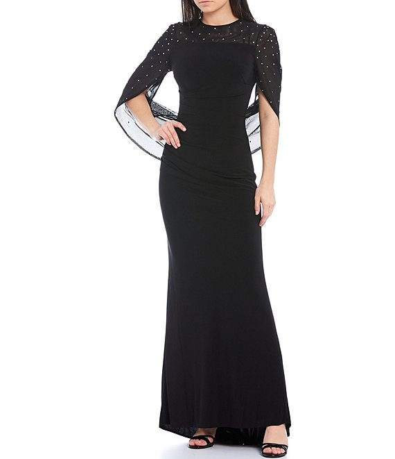 Color:Black - Image 1 - Embellished Drape Back Stretch Jersey Gown