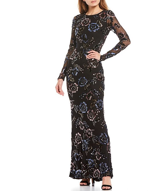 Color:Black/Rose - Image 1 - Long Sleeve Floral Sequin Mesh Gown