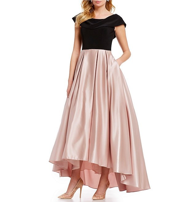 Betsy & Adam Boat Neck Cap Sleeve Colorblock Hi-Low Gown
