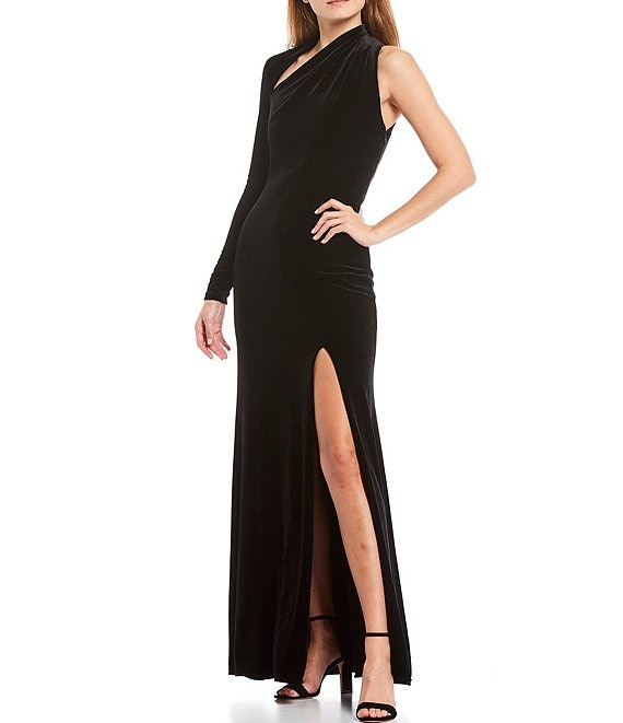 Color:Black - Image 1 - One Sleeve Velvet Column Gown