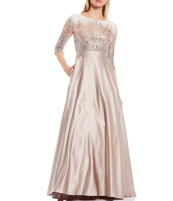 Color:Mocha - Image 1 - Sequin Bodice Scoop Neck Elbow Sleeve Satin Ball Gown