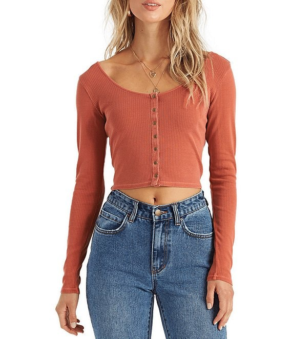 Color:Brick - Image 1 - Long-Sleeve Snap-Front Crop Tee