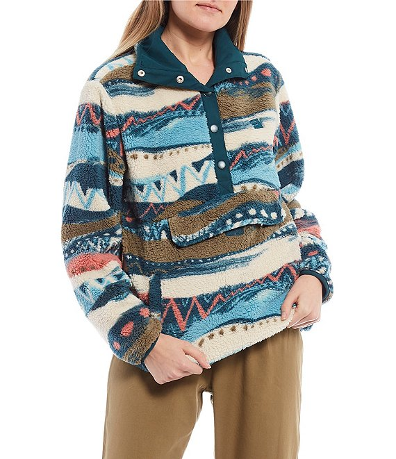 Color:Chino - Image 1 - Switchback Printed Snap-Front Cozy Pullover Fleece